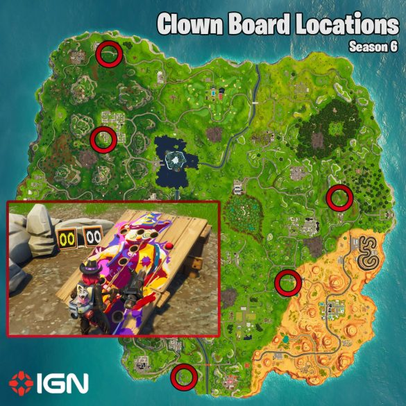 Fortnite Week 9 Challenges – Carnival Clown Boards Blueprint and Areas – Season 6 – Fortnite Wiki Handbook – IGN